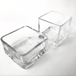 3/$30 SQUARE Clear Glass Plant / Flower Vases
